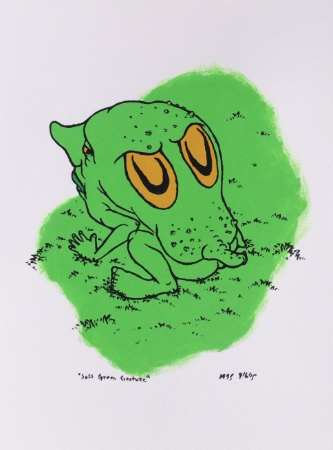 full view of soft green creature by mj seal