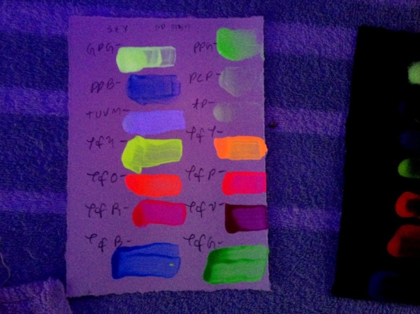 Fluorescent and Phosphorescent Paint Tests 06