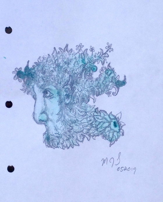 full view of a biomorphic pencil drawing by MJ Seal over an abstract watercolor painting