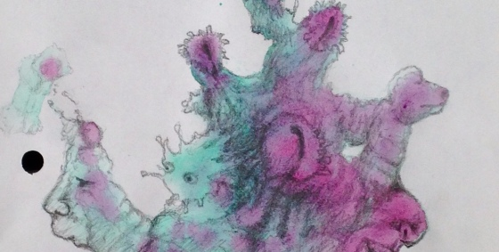 Detail of a biomorphic pencil drawing by MJ Seal over an abstract watercolor painting