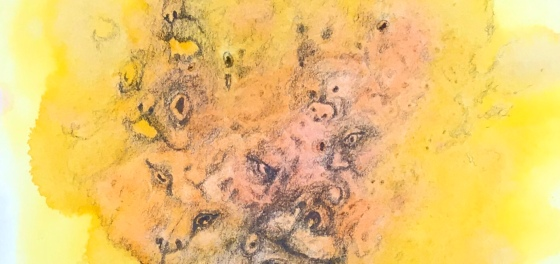 Detail of a phantasmagorical drawing over a watercolor painting