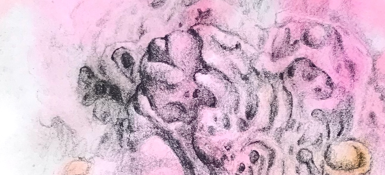 Close up shot of a portion of an abstract drawing over a watercolor painting by MJ Seal