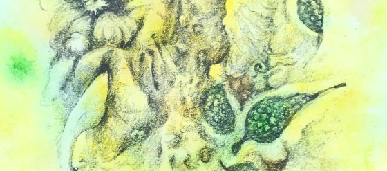 a detail of a biomorphic abstraction in pencil and watercolor by mj seal