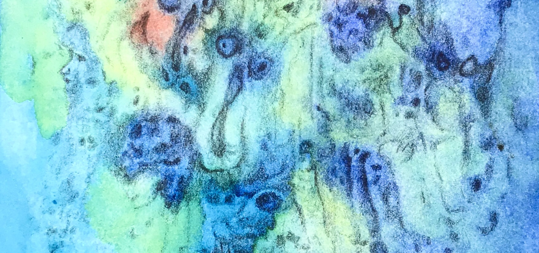 Detail of a phantasmagorical drawing over a watercolor painting by MJ seal