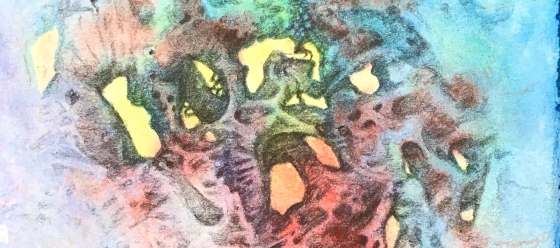 Detail of an abstract drawing over a watercolor painting by MJ Seal that appears to be the view from inside a peculiar colorful cavern