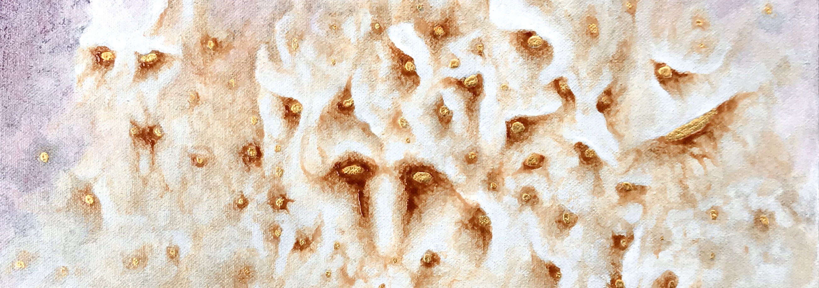 detail of an abstract painting by MJ Seal that looks vaguely like a creamy white rock formation and a phantasmagorical flock of menacing owls with glinting eyes of gold