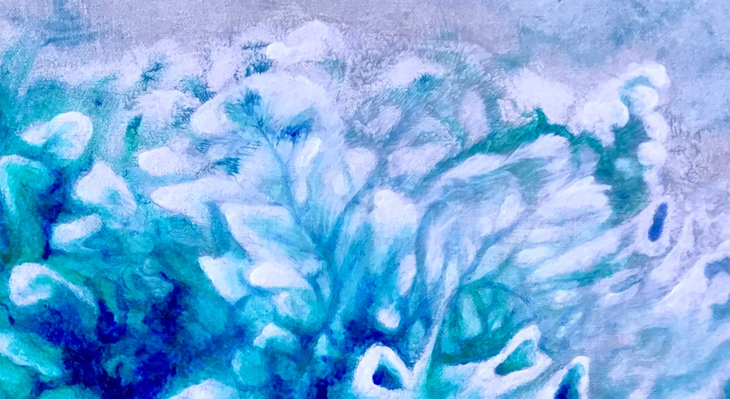 Detail of an abstract acrylic painting by MJ Seal that looks like a cross between an aerial view of an azure desert sea and a colony of sea anemones