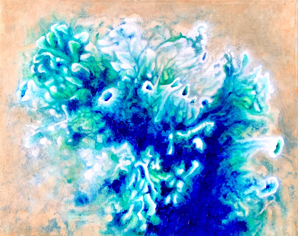 Full view of an abstract acrylic painting by MJ Seal that looks like a cross between an aerial view of an azure desert sea and a colony of sea anemones