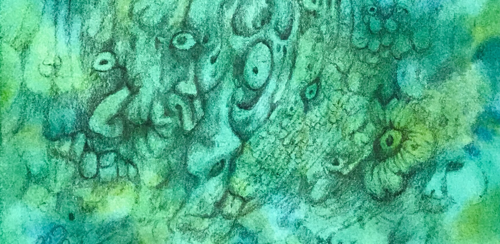 Detail of a free association drawing over an abstract watercolor painting by MJ Seal
