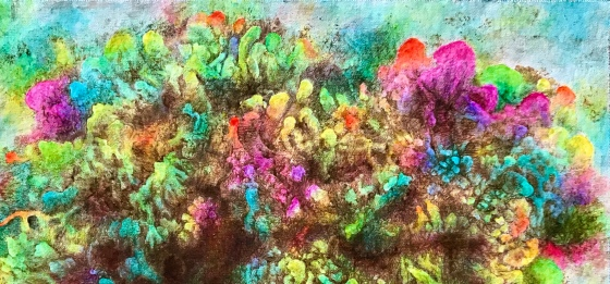 Detail of an abstract painting by MJ Seal that looks like some peculiar, rainbow-hued cluster of fungus