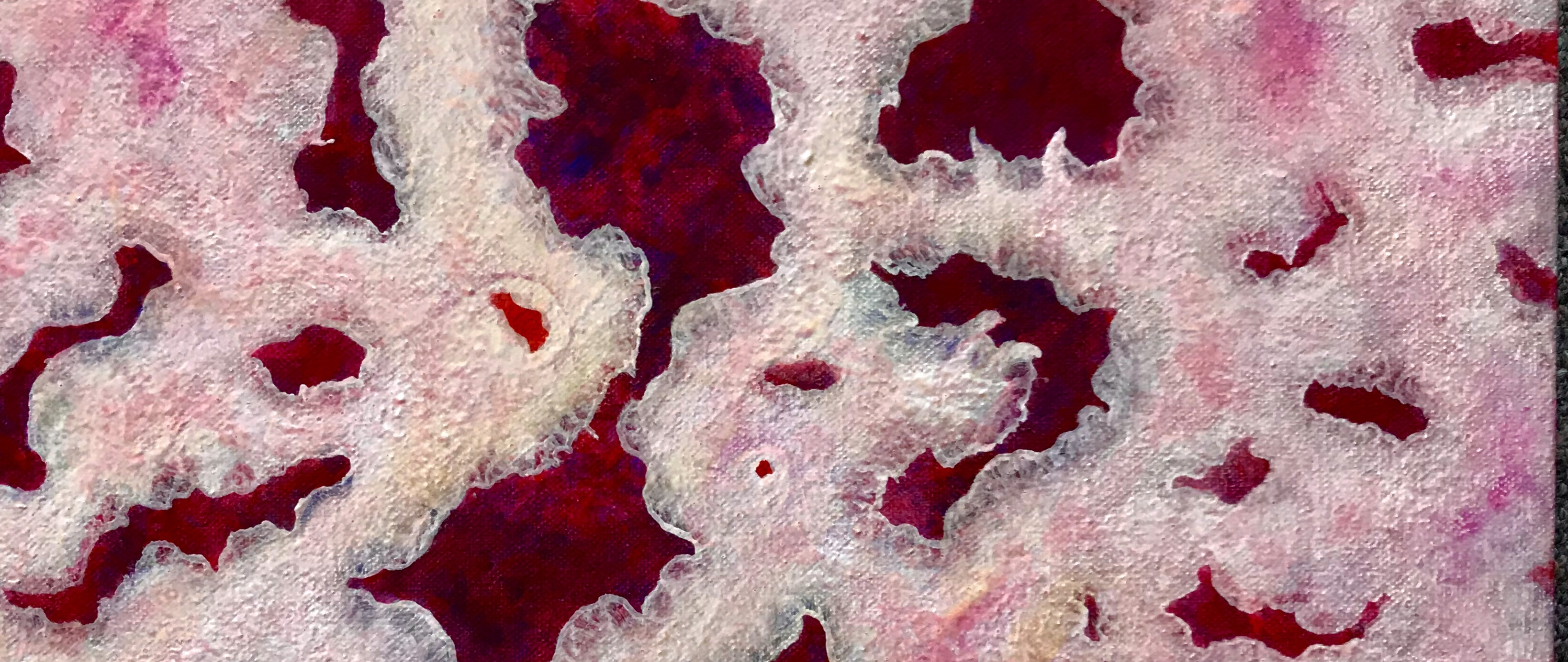 Detail of a painting by MJ Seal that looks like a group of lacey pink coral polyps with strawberry jam colored insides