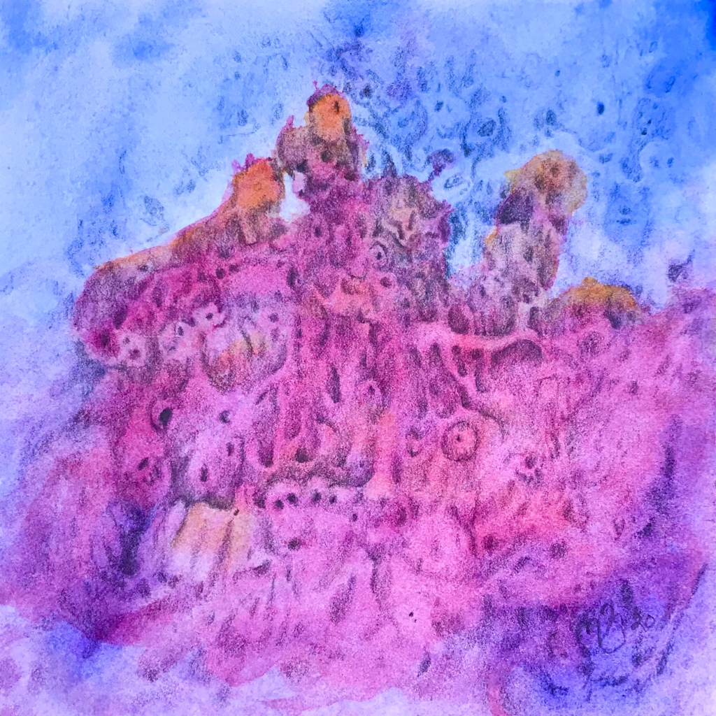 Full view of a free association drawing over an abstract watercolor painting by MJ Seal