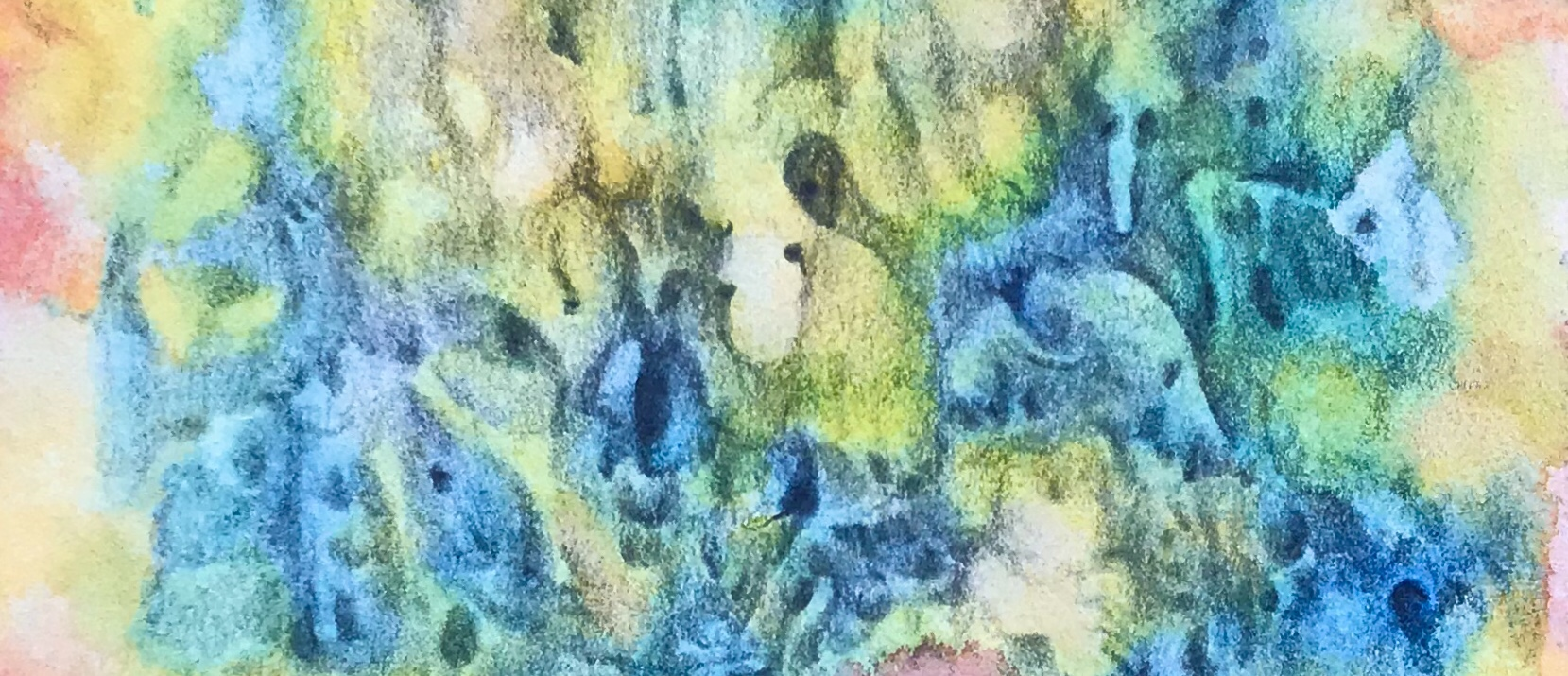 Detail of an abstract free association drawing over an abstract watercolor painting by MJ Seal