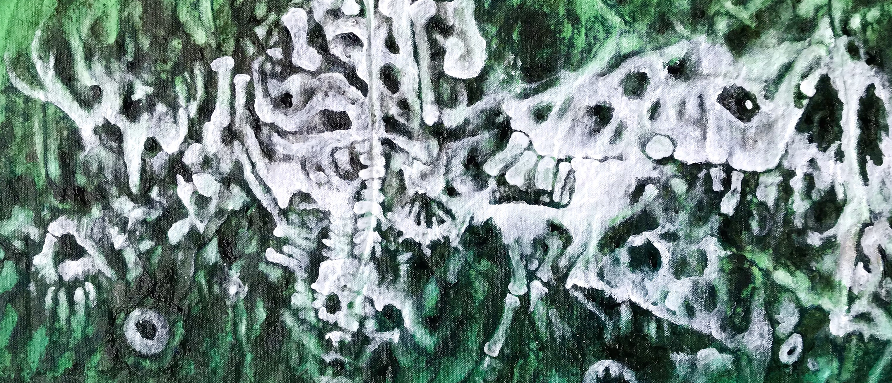 Detail of an abstract painting in progress by MJ Seal tha resembles a cross between a giant green paramecium and a jumbled bone bed