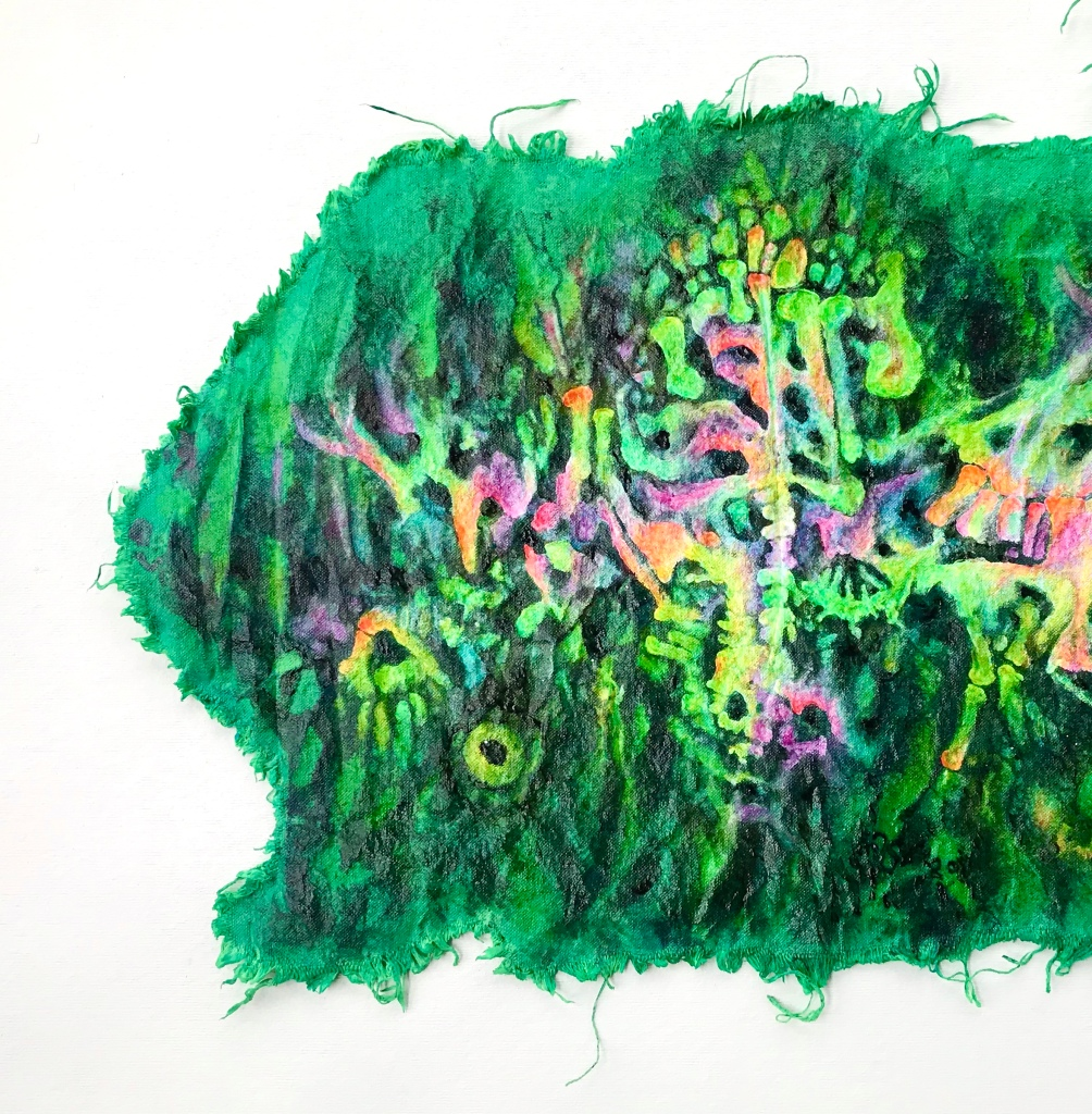 Detail of an abstract painting by MJ Seal that resembles a rainbow hued fossil bone bed within a giant green paramecium