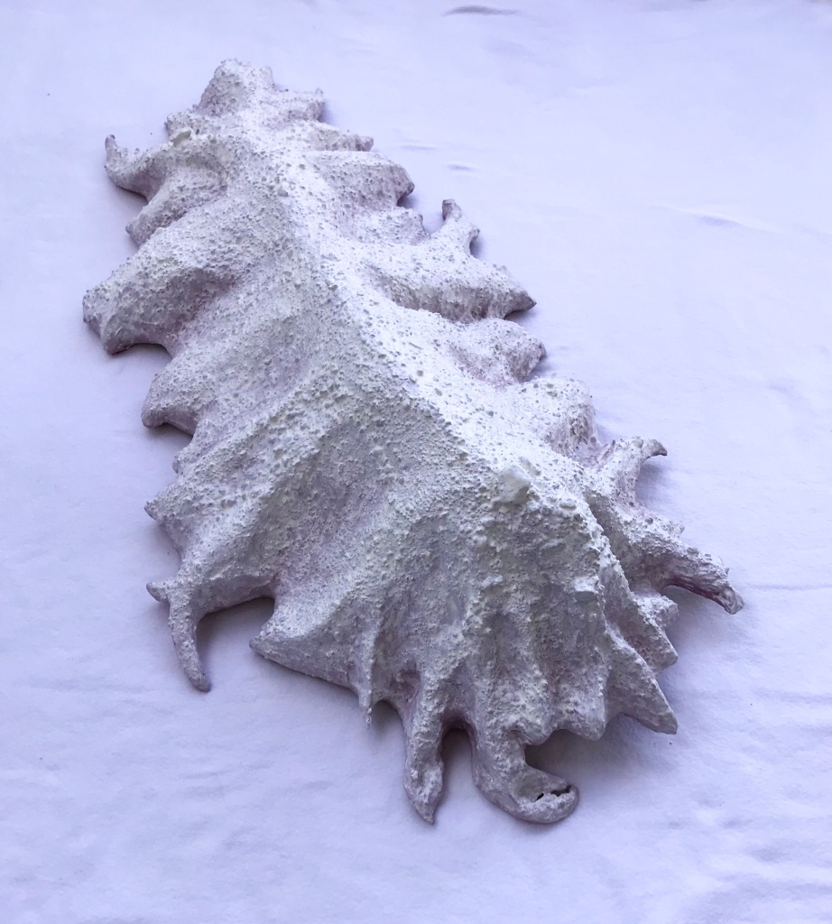 Anterior view of an abstract paper mache sculpture by MJ Seal that resembles a cross between a mountain and some primitive clawed sea creature