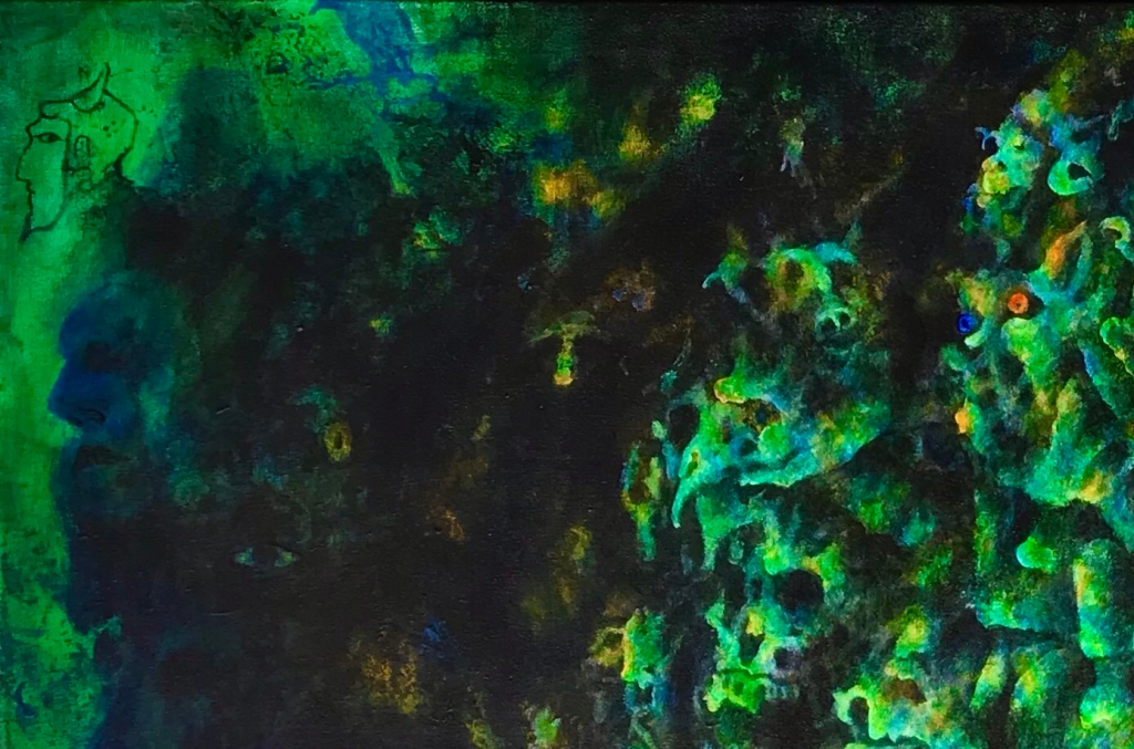 Detail of an abstract painting by MJ Seal that resembles a mass of disembodied spirits camouflaged in sunbeams filtered through a dense forest canopy