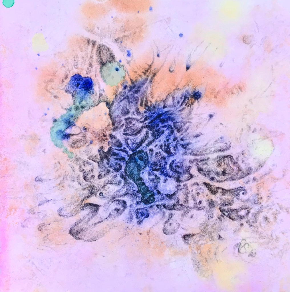 Full view of a drawing over an abstract watercolor painting by MJ Seal