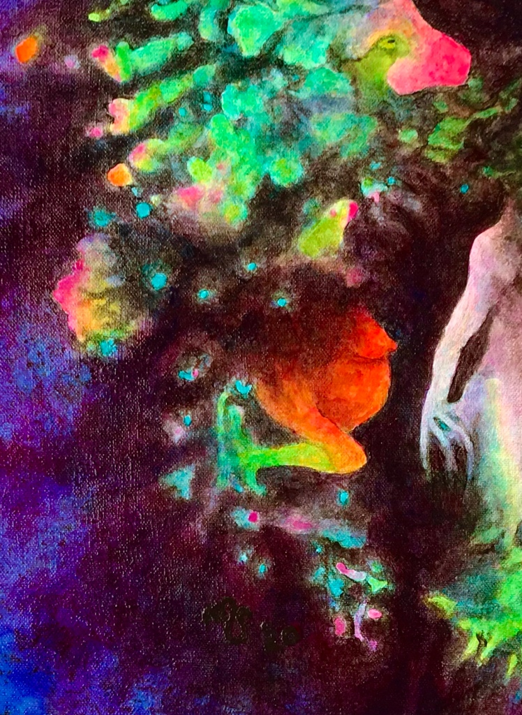 Detail of a very colorful painting by MJ Seal that looks like very strange birds and nude figures emerging from a dark bluish purple forest or cloud
