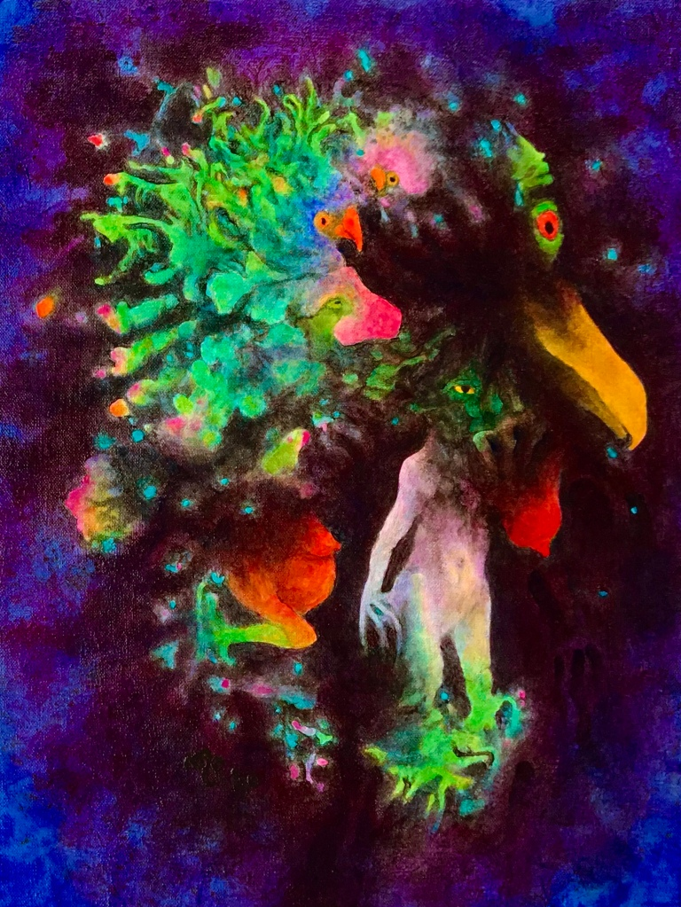 Full view of a very colorful painting by MJ Seal that looks like very strange birds and nude figures emerging from a dark bluish purple forest or cloud