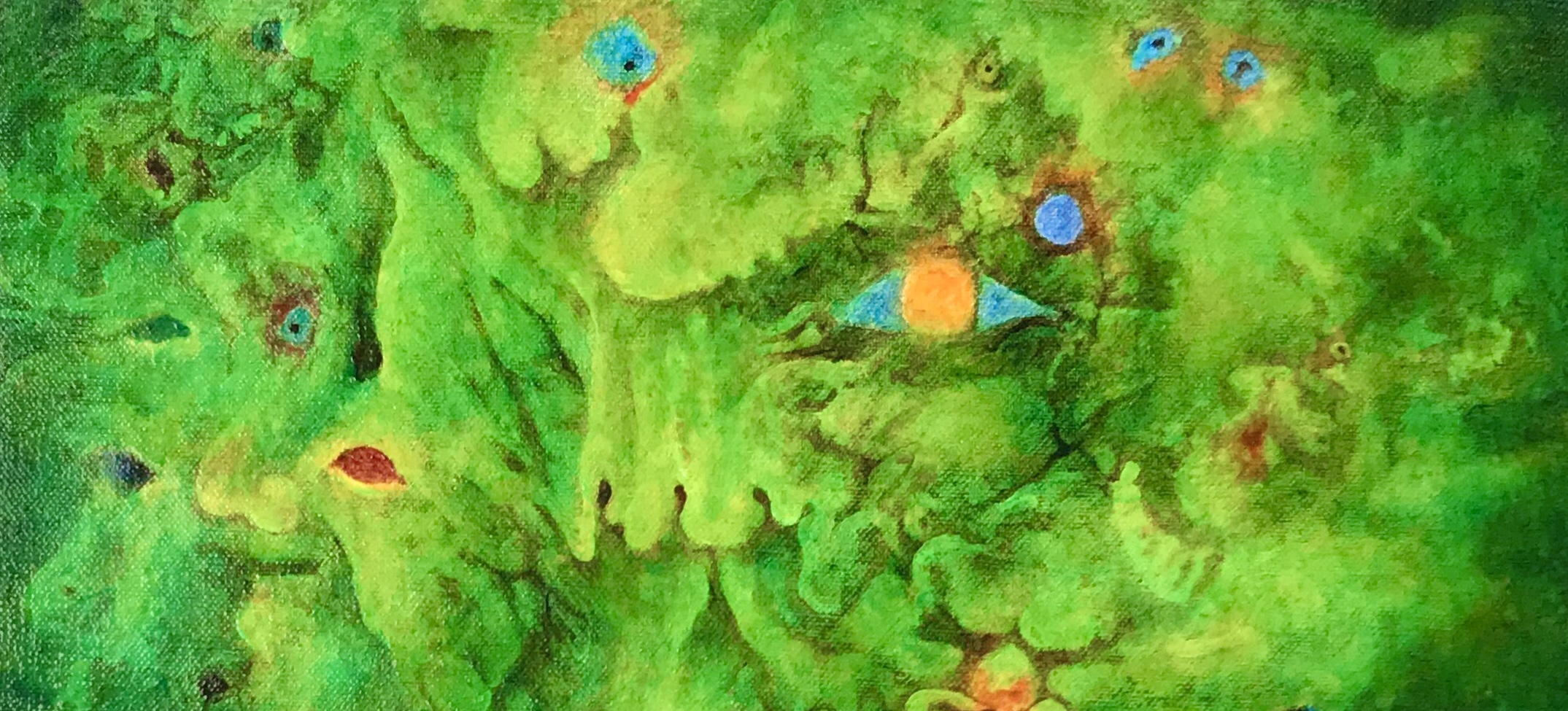 Detail of a painting by MJ Seal that resembles grotesque faces emerging from a leafy chartreuse green background