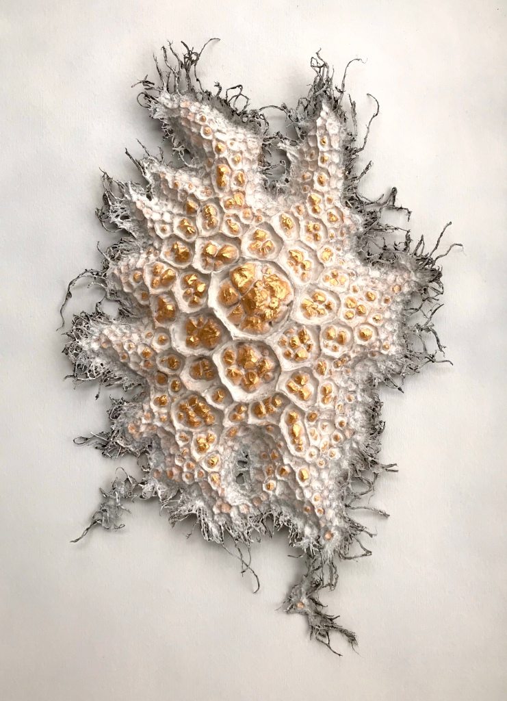 Full view of a paper mache sculpture by MJ Seal that looks like a cross between a honeycomb filled with golden nuggets and some peculiar starfish or fungus with numerous tendrils reaching out