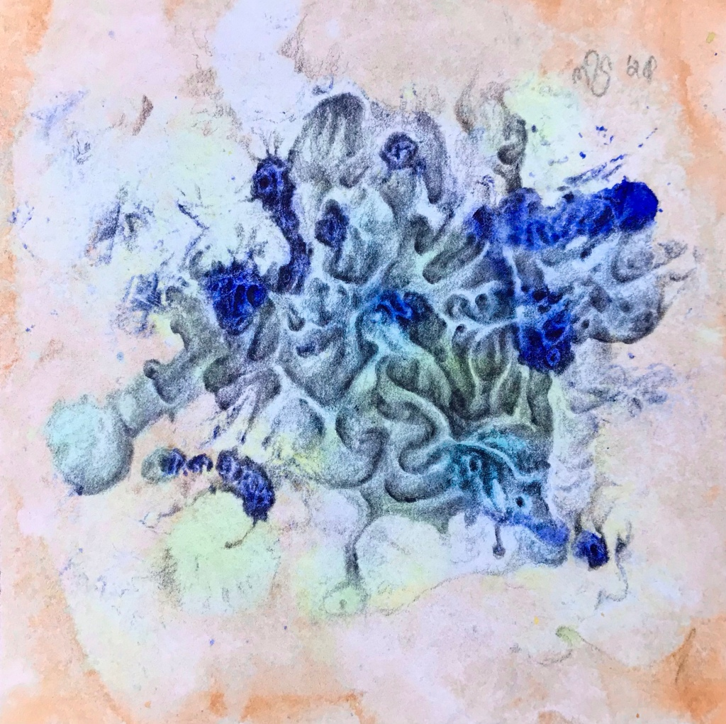 Full view of a biomorphic drawing over an abstract watercolor painting by MJ Seal