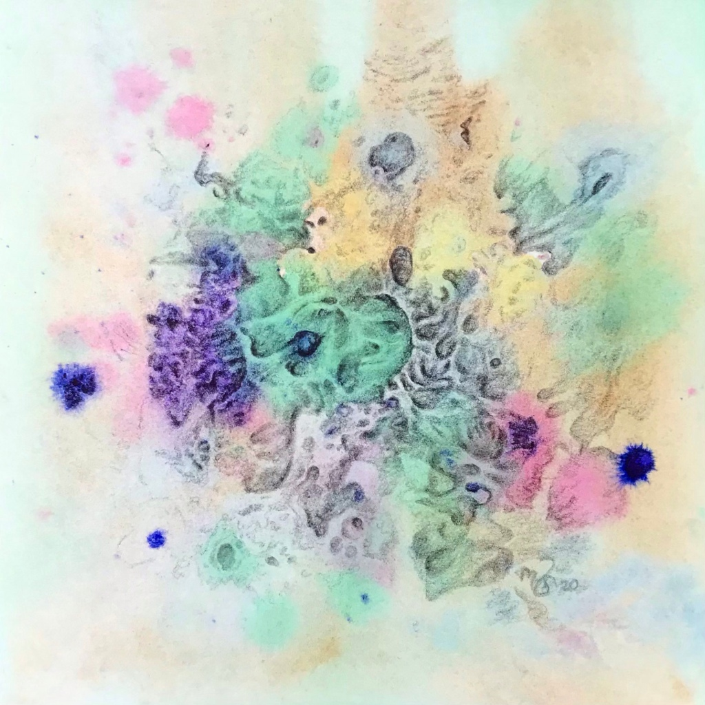 A biomorphic graphite drawing over an abstract watercolor painting by MJ Seal