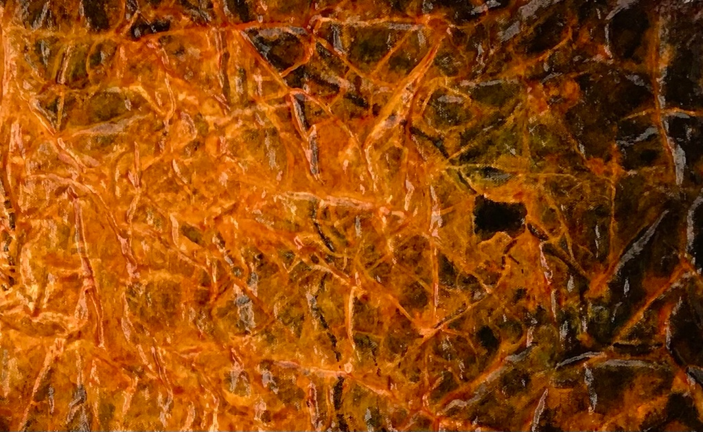 close up detail of an original painting by MJ Seal that resembles a cross between an aerial view of a city at night and a bright orange and black deep sea creature