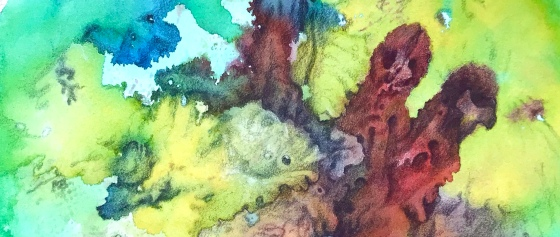 close up detail of a biomorphic drawing over an abstract watercolor painting both by MJ Seal