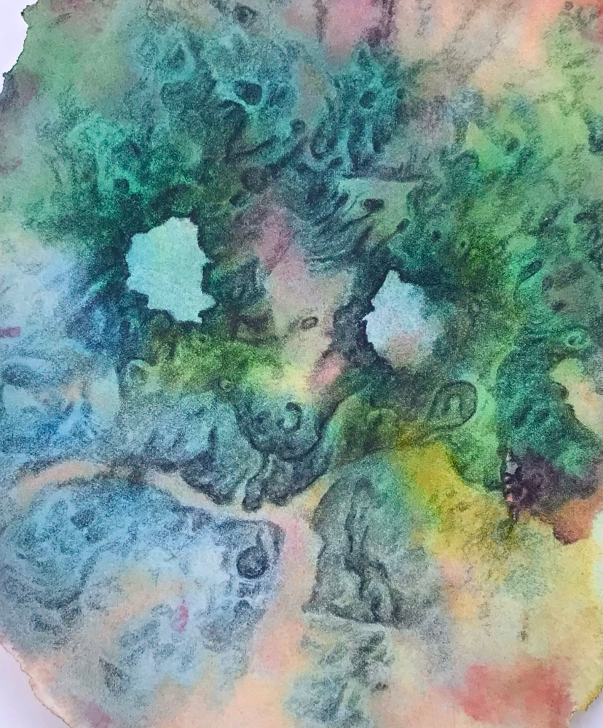 full view of a biomorphic drawing over an abstract watercolor painting both by MJ Seal