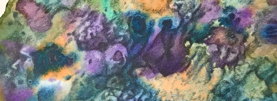 detail of a biomorphic drawing over an abstract watercolor painting both by MJ Seal