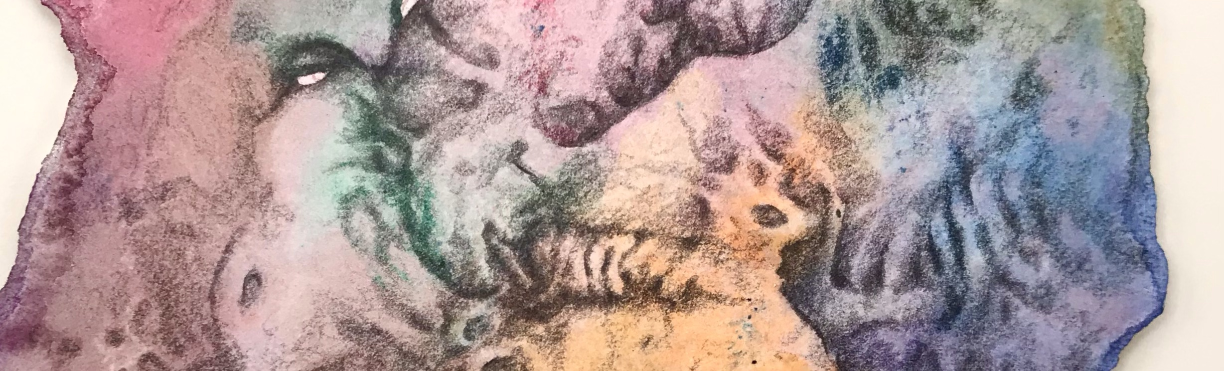 Detail of an abstract pencil drawing over a watercolor painting by MJ Seal