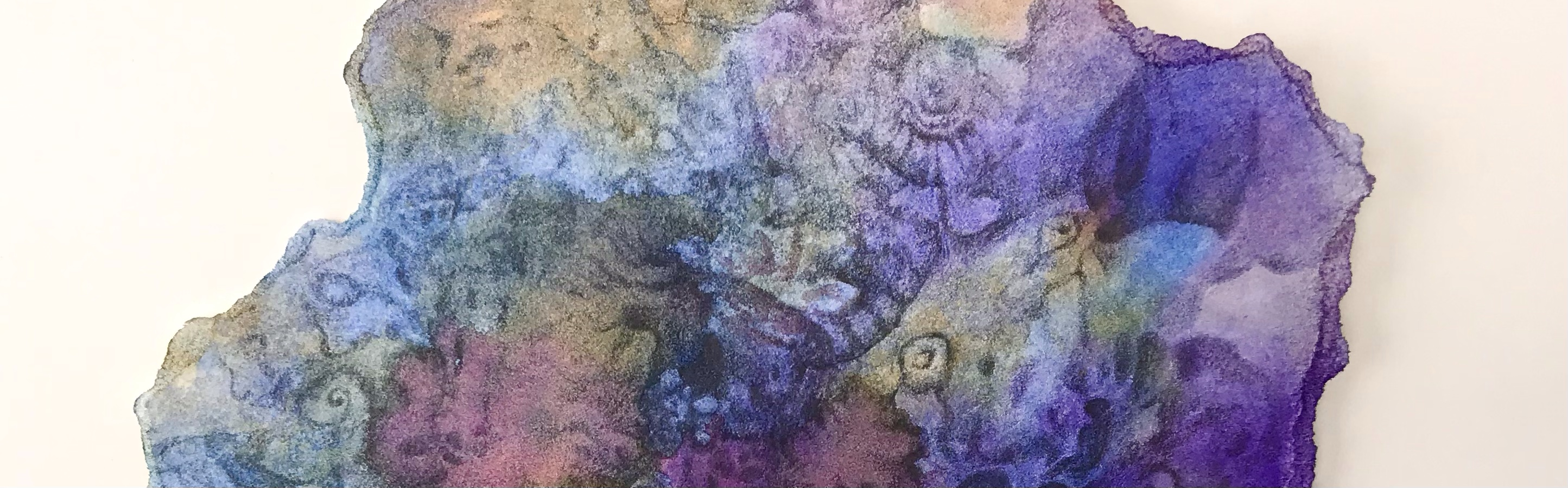 Detail of an abstract graphite drawing over a watercolor painting by MJ seal